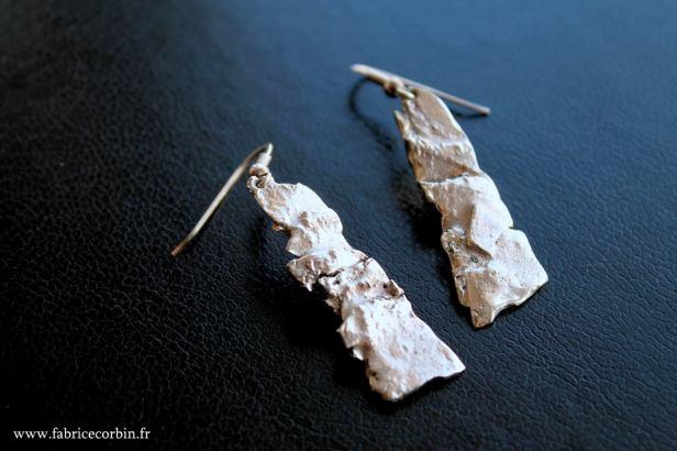 Boucles d'oreilles argent texturé