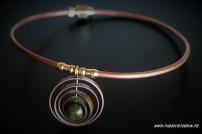 "Collier ""Astrolabe"" en cuivre et jaspe vert"